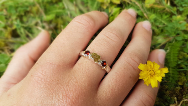 Raw Diamond and Garnet Earth Ring , Rustic Engagement Ring
