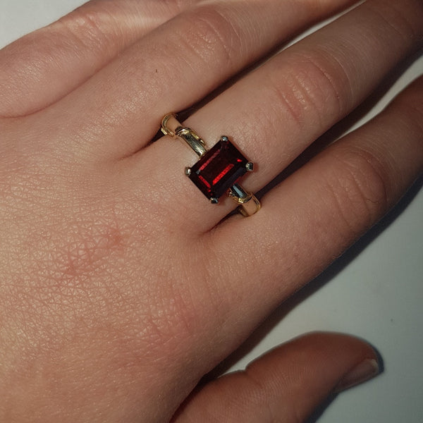 Emerald Cut, Red Garnet Ring