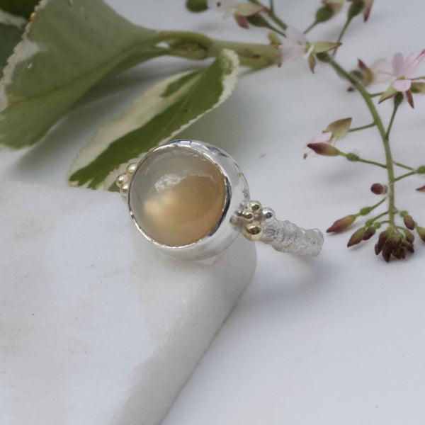Champagne Moonstone Twig Ring, Rustic Ring