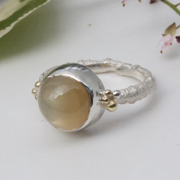 Peach Moonstone Twig Ring, Rustic Engagement Ring