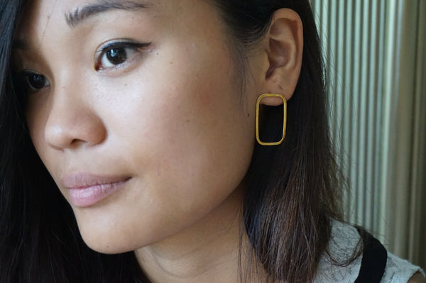 Geometric Large Rectangle  Earrings