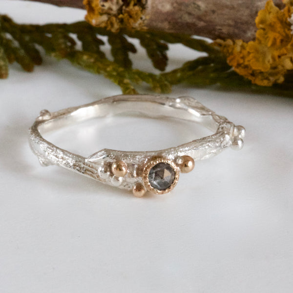 Salt and Pepper Diamond Twig Ring