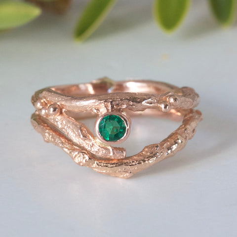 rose gold and emerald twig rings