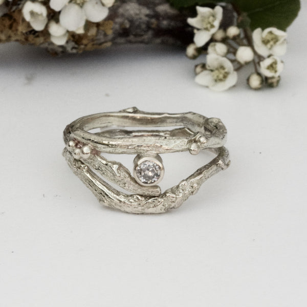 white gold and diamond twig ring set