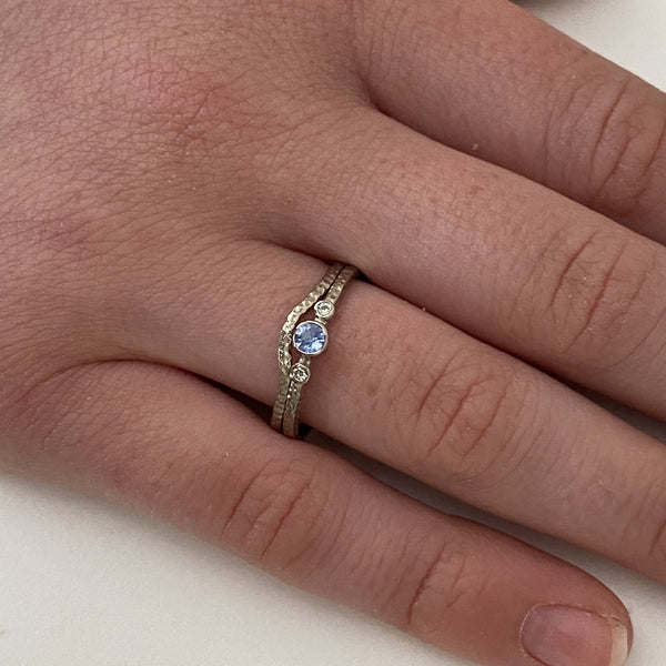 Slim 18ct Gold Sapphire Engagement and Wedding Ring Set