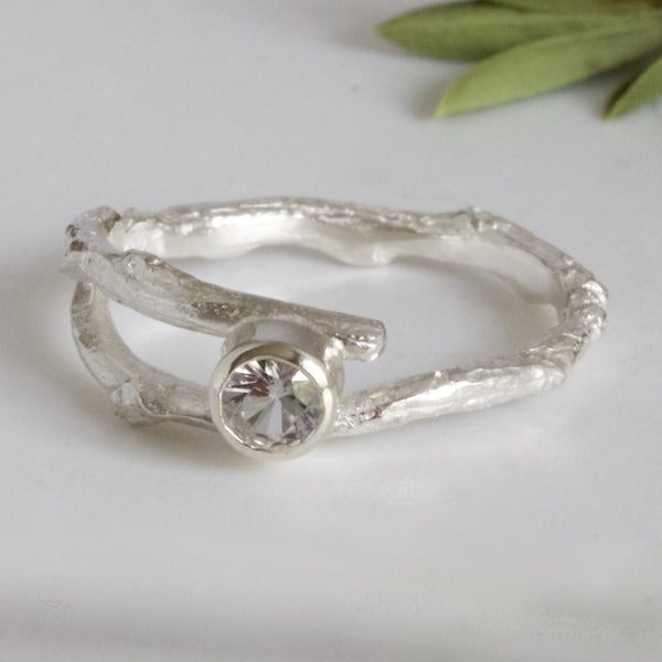 white sapphire twig ring