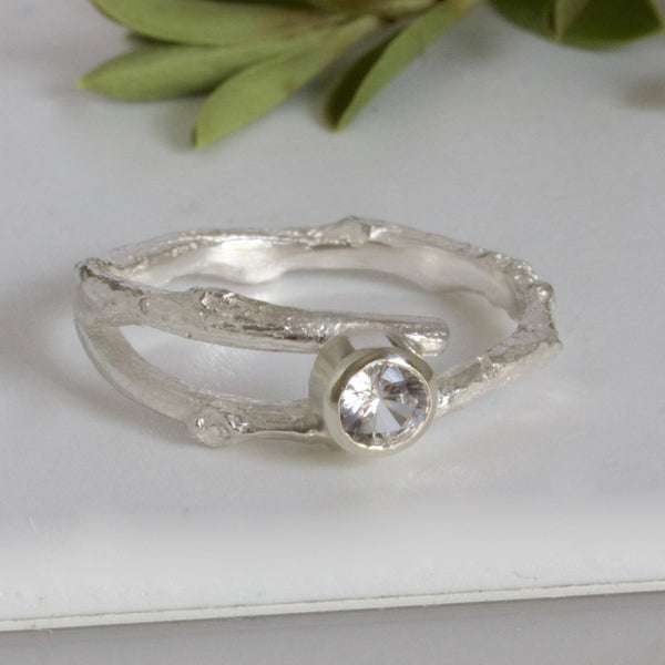 silver twig engagement ring