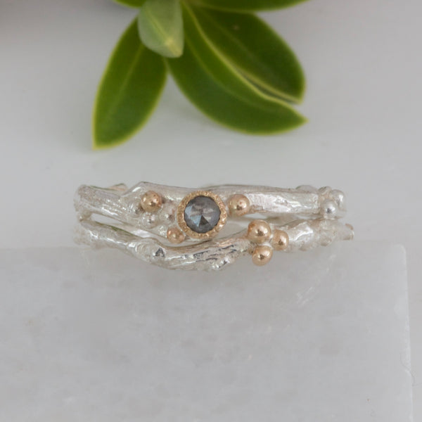 salt and pepper diamond engagement and wedding ring set
