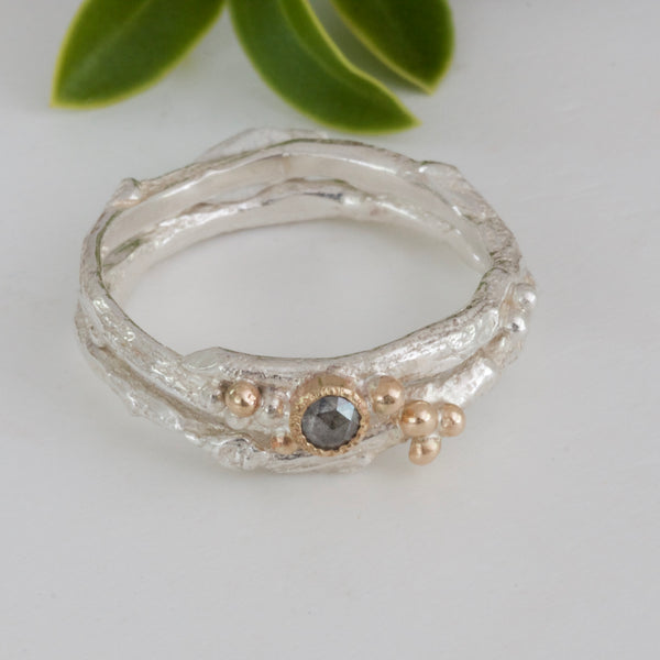 twig engagement and wedding ring set