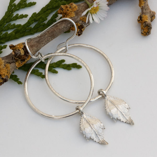 Boho Hoop and Leaf Earrings