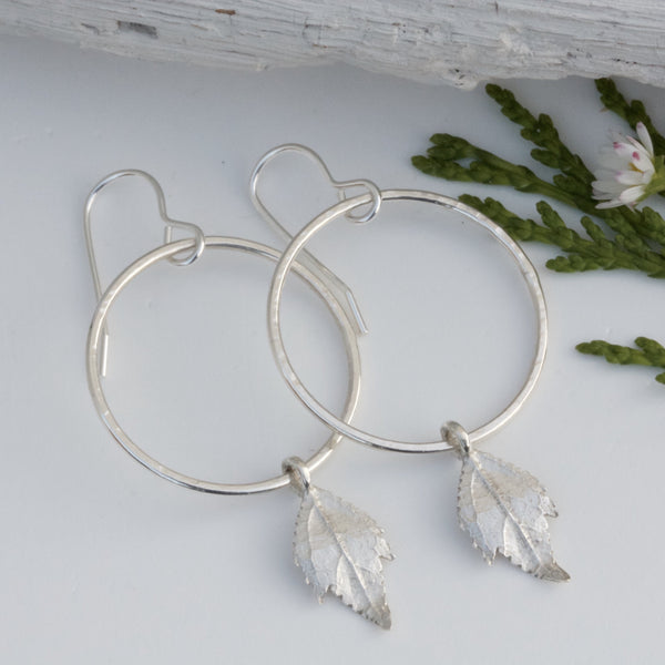 Silver Boho Hoop Earrings With Silver Leaves