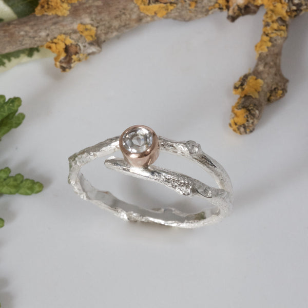silver and rose gold woodland twig ring