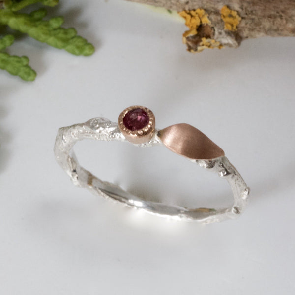 Ruby Woodland Twig and Leaf Ring-Silver and Rose Gold