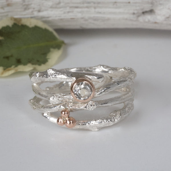 woodland twig ring wedding and engagement ring set