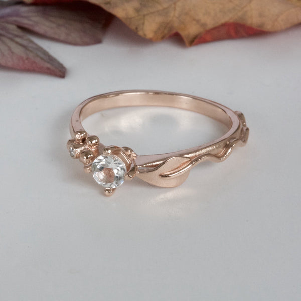 Rose Gold and Sapphire Leaf Engagement Ring