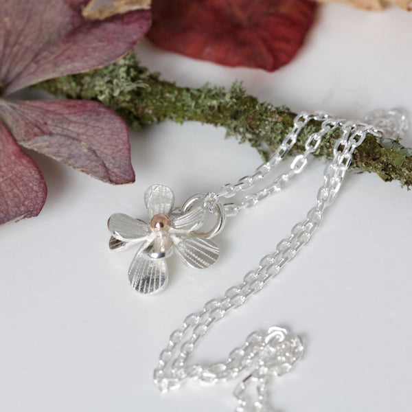 Small Silver and Rose Gold Daisy Necklace