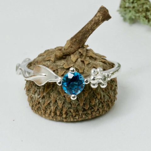 Ariel Silver Leaf Ring, Gemstone and Diamond Leaf Ring, Nature Inspired Ring