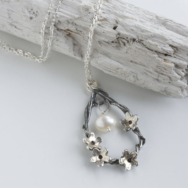 Silver Woodland Flower Necklace