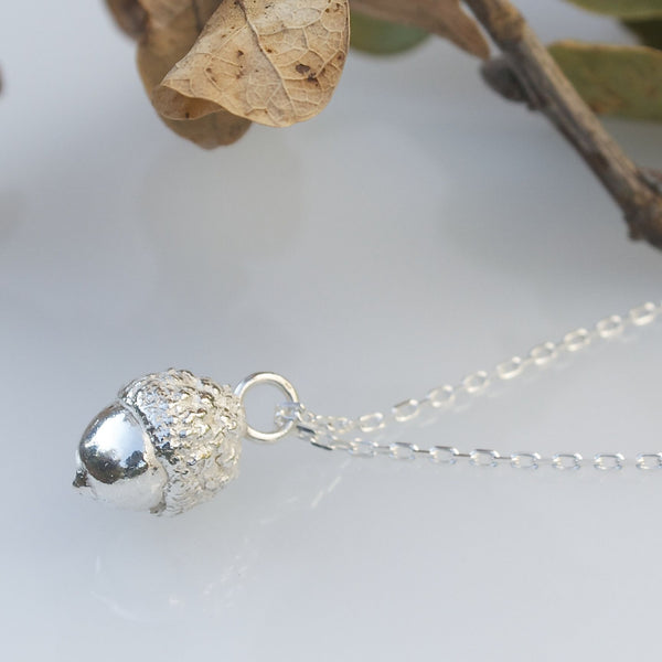 Silver Woodland Acorn Necklace