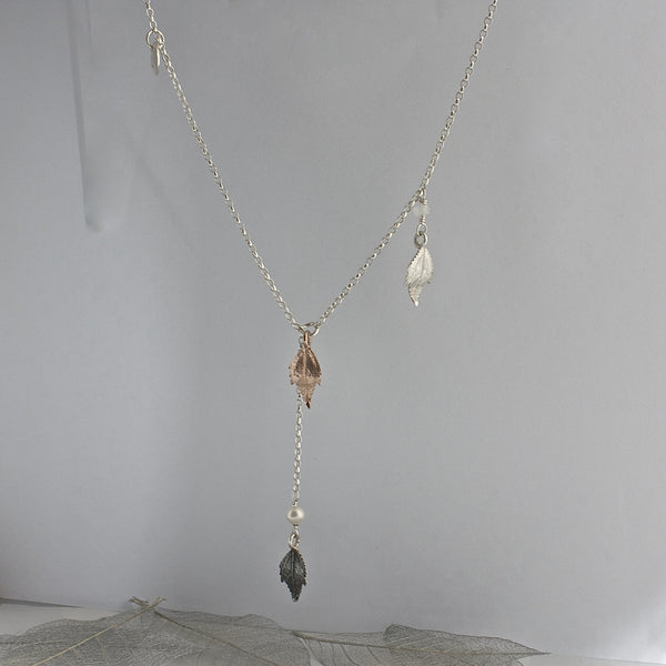Tumbling Leaf Lariat Necklace