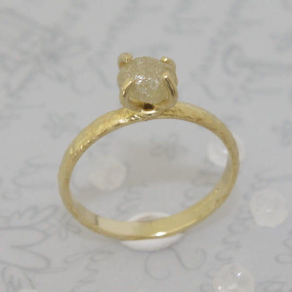 Raw Uncut Yellow Diamond Engagement Ring
