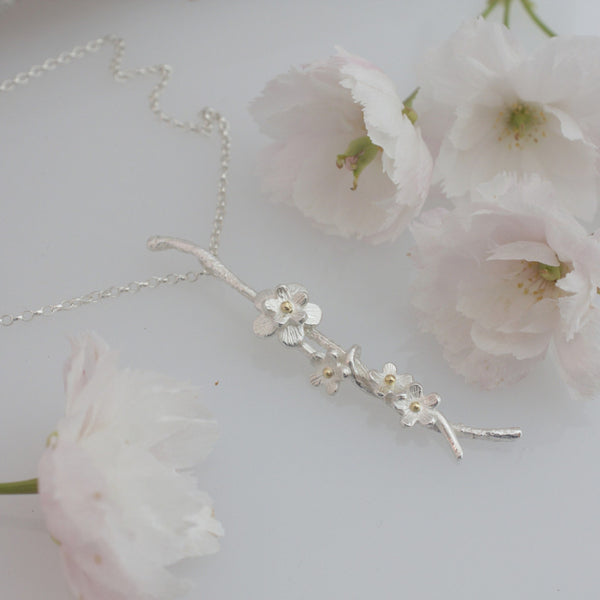 Cherry Blossom Necklace Silver and Gold
