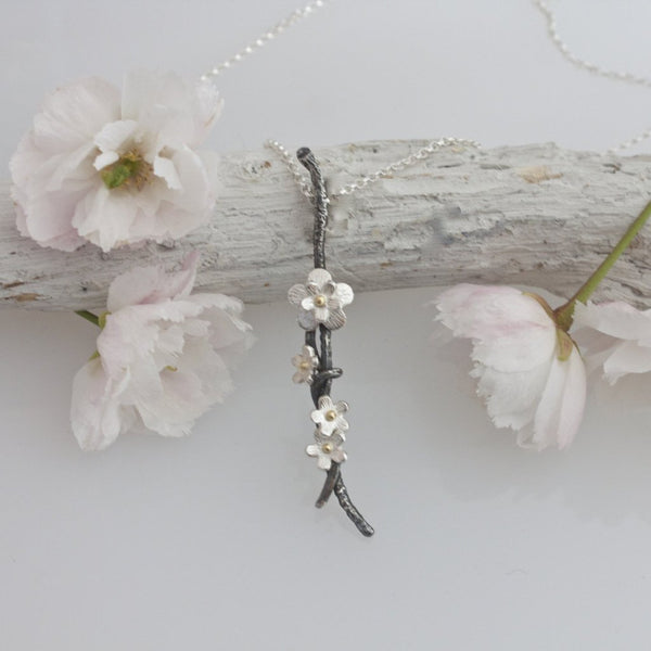 Cherry Blossom Necklace Oxidised Silver and Gold
