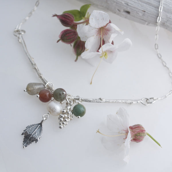 Autumn Cluster Necklace, Leaf and Berry Necklace