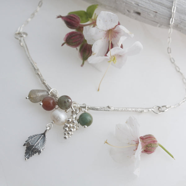Silver Autumn Twig Cluster Necklace