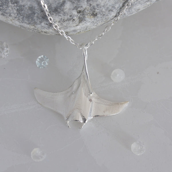 Silver Manta Ray Pendant on a Silver Chain