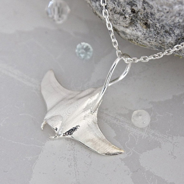 Silver manta ray necklace