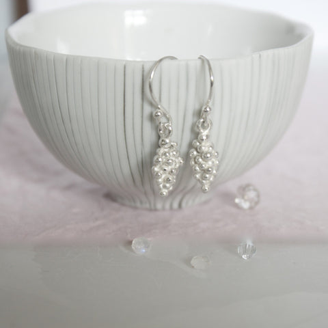 silver drop berry earrings
