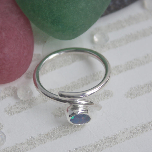 Opal Ring, Silver and Opal Ring, October Birthstone