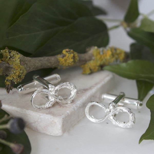 Silver Infinity Twig Cufflinks, Grooms Wedding Cufflinks