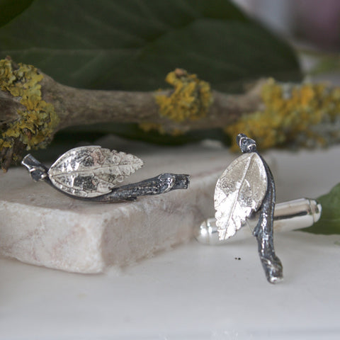 Silver Leaf Cufflinks, Gift for Men