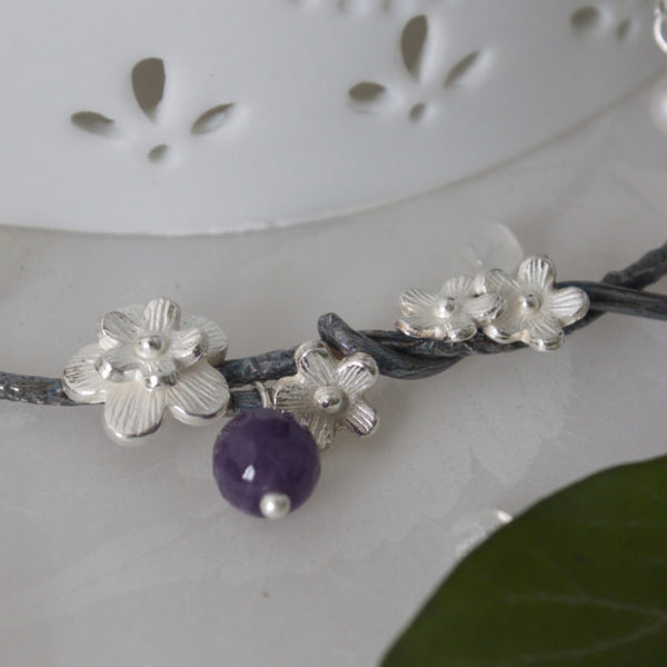 Black and Silver Cherry Blossom and  Amethyst Necklace, Flower Necklace, Woodland Necklace