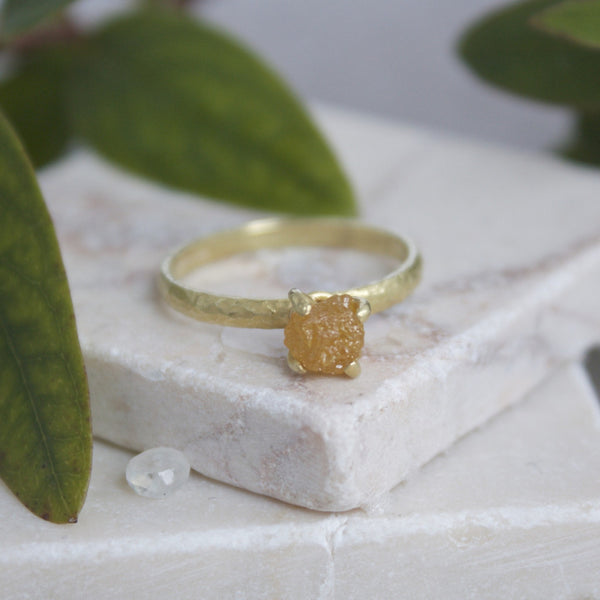 Rough Orange Diamond Engagement Ring