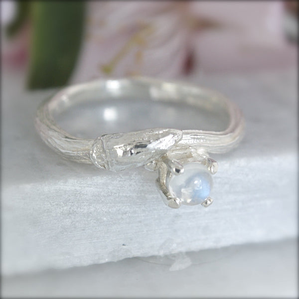 Silver Willow Twig Moonstone Ring