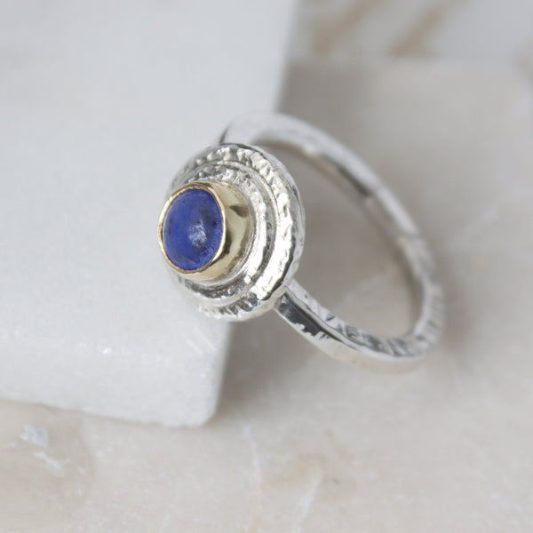 Blue Lapis Lazuli Silver and Gold Handmade Ring
