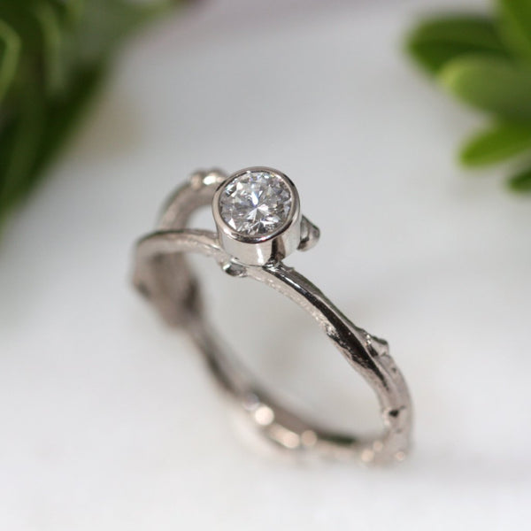 18ct White Gold and Diamond Twig Engagement Ring
