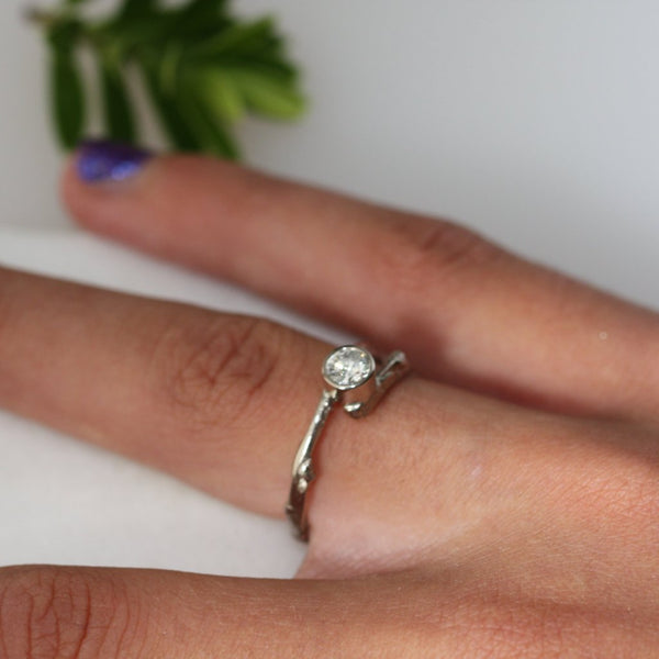 Diamond Twig Engagement Ring-Woodland Engagement Ring-White Gold Twig Ring-Nature Engagement Ring