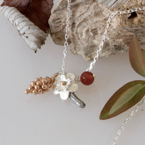 Silver and Rose Gold Botanical Forest Necklace