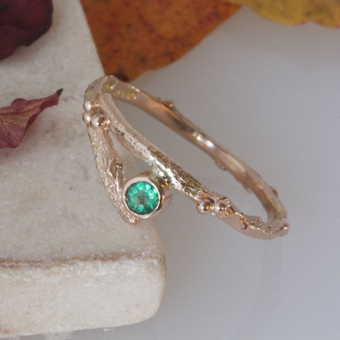 Rose Gold and Emerald Twig Engagement Ring