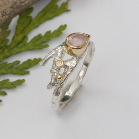 Rose Quartz Twig Engagement Ring-Pear Shape Silver and Gold Engagement Ring