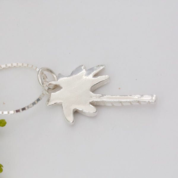 Palm Tree Necklace, Silver Palm Tree Pendant, Tropical Necklace