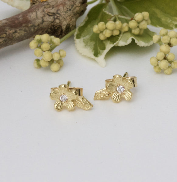Solid Gold and Diamond Cherry Blossom Earrings, 18ct Gold Flower Stud Earrings