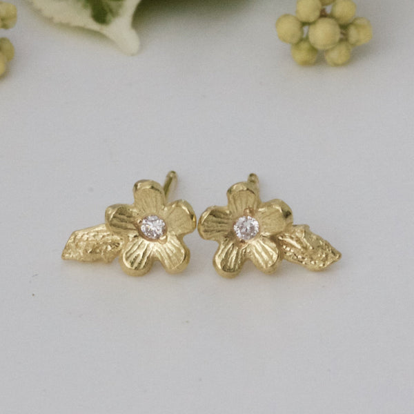 Solid Gold and Diamond Cherry Blossom Earring, 18ct Gold Flower Stud Earring
