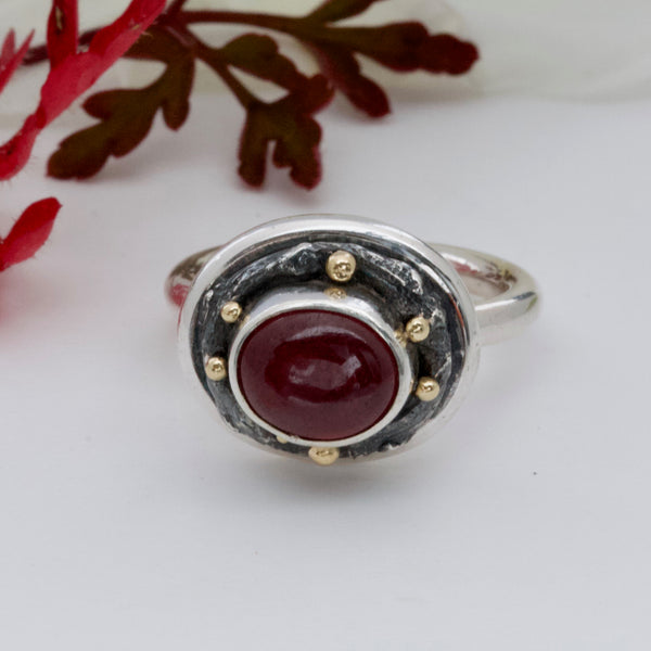 Unique Ruby Ring-Handmade Red Ruby Ring-Silver-Gold-July birthstone-Ruby Engagement Ring