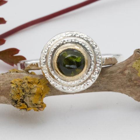 Handmade Tourmaline and Silver Ring-Forest Green-bohemian ring-circle infinity ring