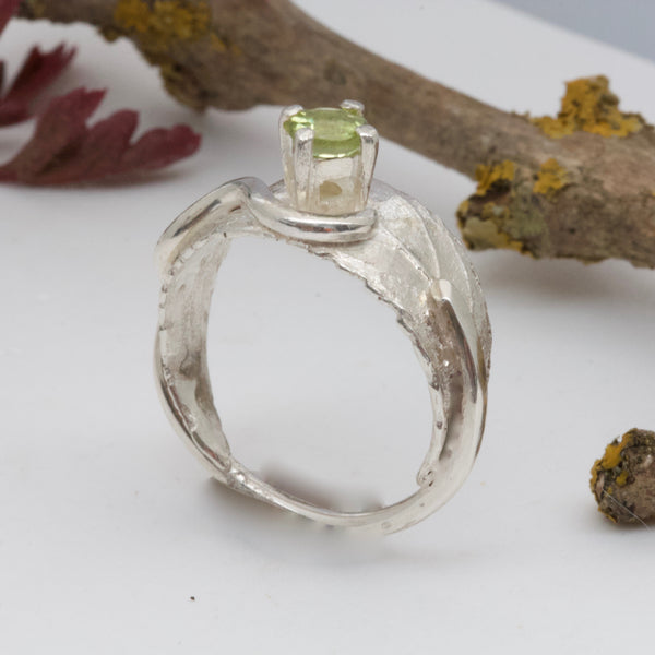 Silver Leaf Ring with Peridot